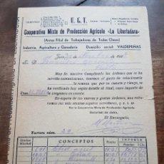 Facturas antiguas: FACTURA COOPERATIVA LA LIBERTADORA VALDEPEÑAS 1938 GUERRA CIVIL. Lote 238251200