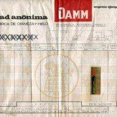 Facturas antiguas: DAMM (FABRICA DE CEVEZA Y HIELO) ANTIGUA FACTURA DE SUMINISTROS AÑO 1967 GRAN FORMATO (32 X 22 CMS). Lote 238320235
