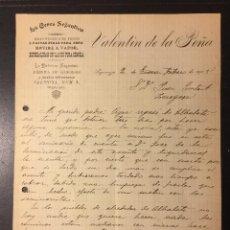 Facturas antiguas: SIGUENZA , GUADALAJARA , FACTURA ANTIGUA DE 1905 , FIDEOS PARA SOPAS LA CERES SEGUNTINA, VALENTÍN. Lote 238840120