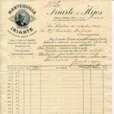 "Fatture antiche: SAN SEBASTIAN-IRIARTE É HIJOS-MANTEQUILLA ""IRIARTE""- AÑO 1921. Lote 239489670"