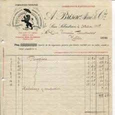 Fatture antiche: SAN SEBASTIAN-FÁBRICA DE PARAGUAS-A. BRISAC AINE & CIA -AÑO 1915. Lote 239546650