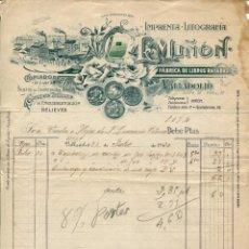 Facturas antiguas: VALLADOLID-IMPRENTA-LITOGRAFÍA-FÁBRICA LIBROS RAYADOS-L. MIÑÓN-AÑO 1920. Lote 239549875