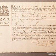 Facturas antiguas: VERACRUZ A BARCELONA - TRANSPORTE MARÍTIMO EN BUQUE DE MERCANCÍA - RESGUARDO - CONTRATO - 1810. Lote 240511545
