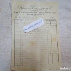 Facturas antiguas: VIGO 1910 - FACTURA BLEIN HERMANOS Y CIA A SEÑORES YAÑES Y AREAN, MEDIO FOLIO + INFO. Lote 243891155