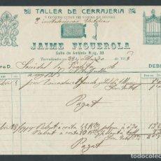 Factures anciennes: ANTIGUA FACTURA TALLER CERRAJERIA JAIME FIGUEROLA TORREDEMBARRA AÑO 1915. Lote 28960635