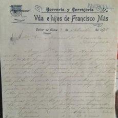 Facturas antiguas: BELVER DE CINCA , HUESCA , VDA. E HIJOS DE FRANCISCO MÁS , HERRERÍA , 1922. Lote 244727735