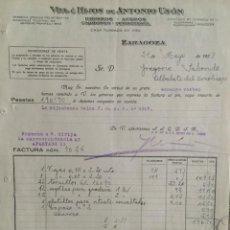 Facturas antiguas: ZARAGOZA , ARAGÓN , FACTURA ANTIGUA DE 1927 , R. DELATAS E HIJO , CONSERVAS Y COLONIALES. Lote 244728210