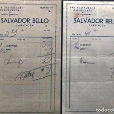 Faturas antigas: ZARAGOZA AÑOS 30 / BAR CERVECERÍA - SALVADOR BELLO / ANTES LA MARAVILLA. Lote 245448215