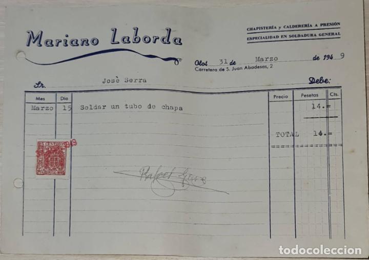 FACTURA. MARIANO LABORDA. CHAPISTERÍA Y CALDERERÍA A PRESIÓN. OLOT. ESPAÑA 1949 (Coleccionismo - Documentos - Facturas Antiguas)