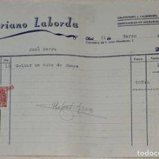 Facturas antiguas: FACTURA. MARIANO LABORDA. CHAPISTERÍA Y CALDERERÍA A PRESIÓN. OLOT. ESPAÑA 1949. Lote 245994095