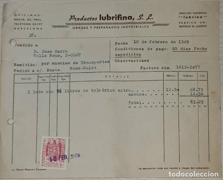 FACTURA. PRODUCTOS LUBRIFINA S. L. GRASAS Y PREPARADOS INDUSTRIALES. BARCELONA. ESPAÑA 1949 (Coleccionismo - Documentos - Facturas Antiguas)
