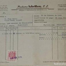 Facturas antiguas: FACTURA. PRODUCTOS LUBRIFINA S. L. GRASAS Y PREPARADOS INDUSTRIALES. BARCELONA. ESPAÑA 1949. Lote 245994340