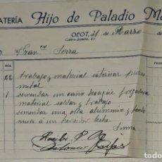 Facturas antiguas: FACTURA. HIJO DE PALADIO MARGUÍ. HOJALATERÍA. OLOT. ESPAÑA 1949. Lote 245994490