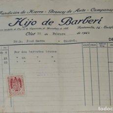 Facturas antiguas: FACTURA. HIJO DE BARBERÍ. FUNDICIÓN DE HIERRO, BRONCES DE ARTE Y CAMPANAS. OLOT. ESPAÑA 1949. Lote 245994950