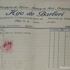 Facturas antiguas: FACTURA. HIJO DE BARBERÍ. FUNDICIÓN DE HIERRO, BRONCES DE ARTE Y CAMPANAS. OLOT. ESPAÑA 1949. Lote 245995105