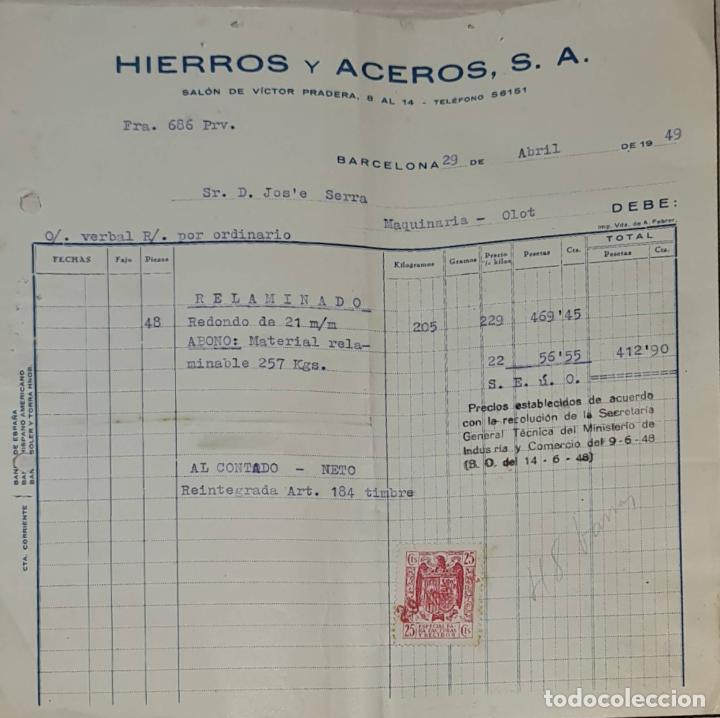 FACTURA. HIERROS Y ACEROS S.A. BARCELONA. ESPAÑA 1949 (Coleccionismo - Documentos - Facturas Antiguas)