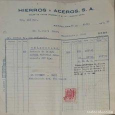 Facturas antiguas: FACTURA. HIERROS Y ACEROS S.A. BARCELONA. ESPAÑA 1949. Lote 245995340