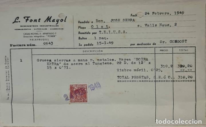 FACTURA. L. FONT MAYOL. SUMINISTROS INDUSTRIALES. PALAFRUGELL. ESPAÑA 1949 (Coleccionismo - Documentos - Facturas Antiguas)