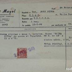 Facturas antiguas: FACTURA. L. FONT MAYOL. SUMINISTROS INDUSTRIALES. PALAFRUGELL. ESPAÑA 1949. Lote 245996480