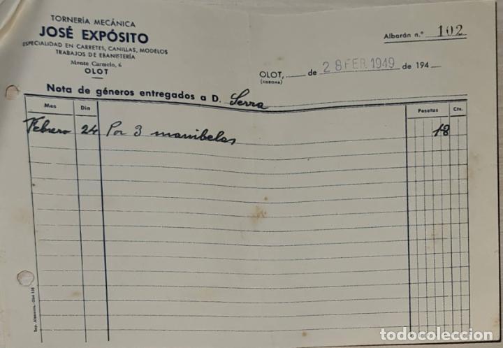 FACTURA. JOSÉ EXPÓSITO. TORNERÍA MECÁNICA. OLOT. ESPAÑA 1949 (Coleccionismo - Documentos - Facturas Antiguas)