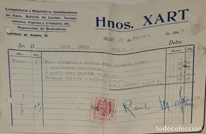 FACTURA. HNOS. XART. LAMPISTERÍA Y HOJALATERÍA INSTALACIONES. OLOT. ESPAÑA 1949 (Coleccionismo - Documentos - Facturas Antiguas)