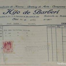 Facturas antiguas: FACTURA. HIJO DE BARBERÍ. FUNDICIÓN DE HIERRO, BRONCES DE ARTE Y CAMPANAS. OLOT. ESPAÑA 1949. Lote 245997450