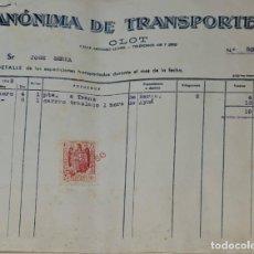 Facturas antiguas: FACTURA. ANÓNIMA DE TRANSPORTES. OLOT. ESPAÑA 1949. Lote 245997610