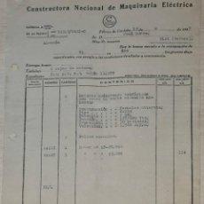 Facturas antiguas: FACTURA. CONSTRUCTORA NACIONAL DE MAQUINARIA ELÉCTRICA. CÓRDOBA. ESPAÑA 1949. Lote 245997785