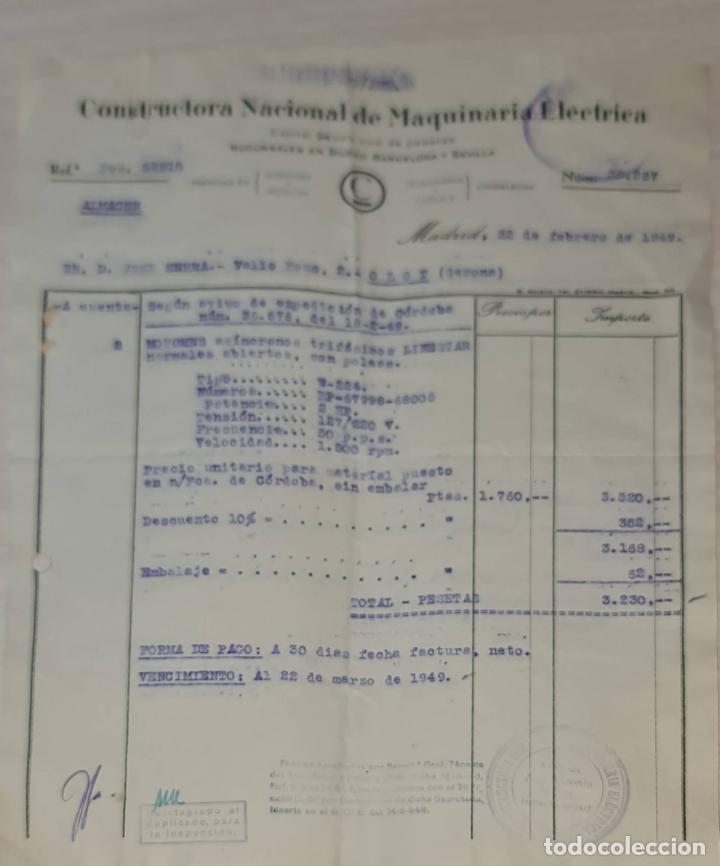 FACTURA. CONSTRUCTORA NACIONAL DE MAQUINARIA ELÉCTRICA. MADRID. ESPAÑA 1949 (Coleccionismo - Documentos - Facturas Antiguas)
