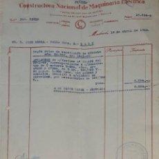 Facturas antiguas: FACTURA. CONSTRUCTORA NACIONAL DE MAQUINARIA ELÉCTRICA. MADRID. ESPAÑA 1949. Lote 245999230