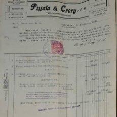 Facturas antiguas: FACTURA. PIZZALA & CRORY S.A. TUBERÍA. TRANSMISIONES. BARCELONA. ESPAÑA 1949. Lote 245999395