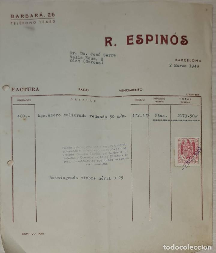 FACTURA. R. ESPINÓS. BARCELONA. ESPAÑA 1949 (Coleccionismo - Documentos - Facturas Antiguas)
