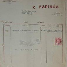 Facturas antiguas: FACTURA. R. ESPINÓS. BARCELONA. ESPAÑA 1949. Lote 245999600