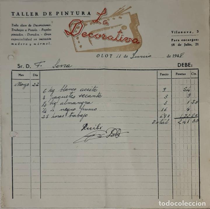 FACTURA. LA DECORATIVA. TALLER DE PINTURA. OLOT. ESPAÑA 1948 (Coleccionismo - Documentos - Facturas Antiguas)