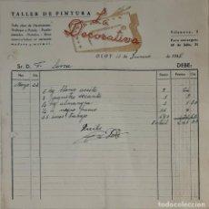 Facturas antiguas: FACTURA. LA DECORATIVA. TALLER DE PINTURA. OLOT. ESPAÑA 1948. Lote 245999765