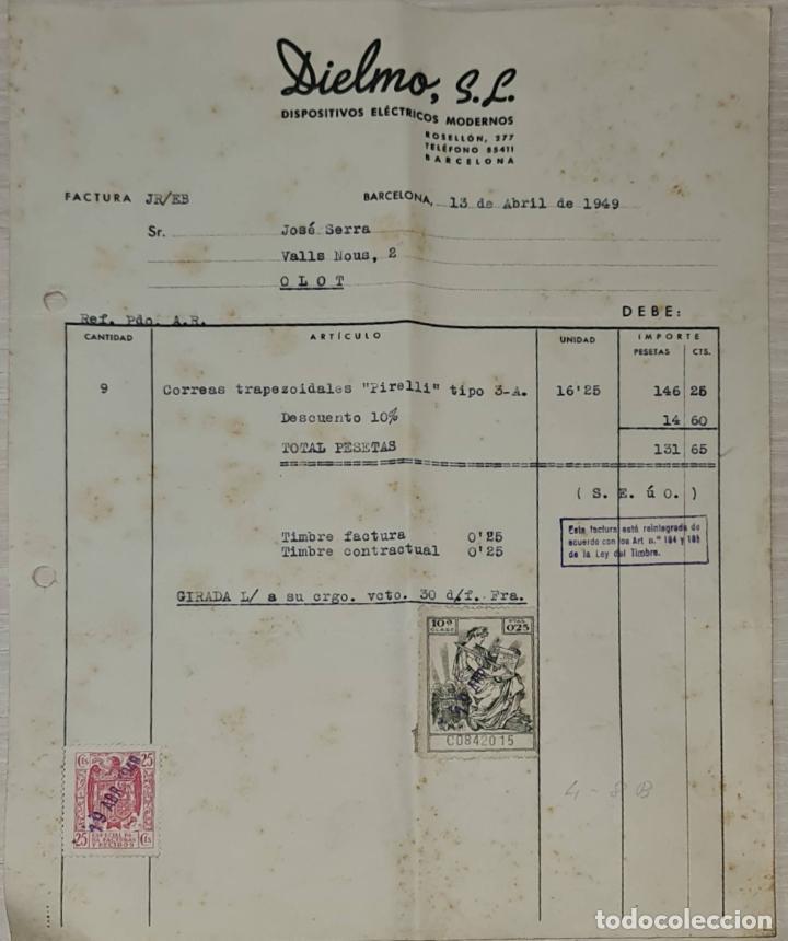 FACTURA. DIELMO S.L. DISPOSITIVOS ELÉCTRICOS MODERNOS. BARCELONA. ESPAÑA 1949 (Coleccionismo - Documentos - Facturas Antiguas)