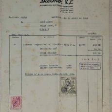 Facturas antiguas: FACTURA. DIELMO S.L. DISPOSITIVOS ELÉCTRICOS MODERNOS. BARCELONA. ESPAÑA 1949. Lote 245999885
