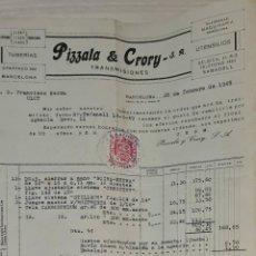 Facturas antiguas: FACTURA. PIZZALA & CRORY S.A. TUBERÍA. TRANSMISIONES. BARCELONA. ESPAÑA 1949. Lote 245999955