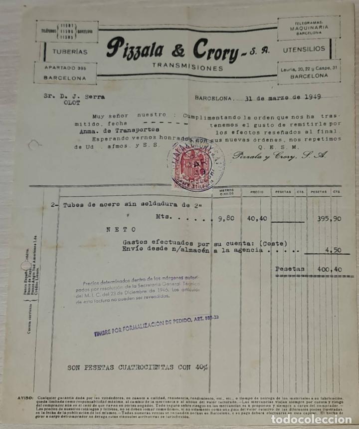 FACTURA. PIZZALA & CRORY S.A. TUBERÍA. TRANSMISIONES. BARCELONA. ESPAÑA 1949 (Coleccionismo - Documentos - Facturas Antiguas)