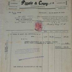 Facturas antiguas: FACTURA. PIZZALA & CRORY S.A. TUBERÍA. TRANSMISIONES. BARCELONA. ESPAÑA 1949. Lote 246000120