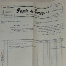 Facturas antiguas: FACTURA. PIZZALA & CRORY S.A. TUBERÍA. TRANSMISIONES. BARCELONA. ESPAÑA 1949. Lote 246000210