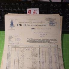 Facturas antiguas: RICO JUGUETES. IBI 1941. Lote 246055095