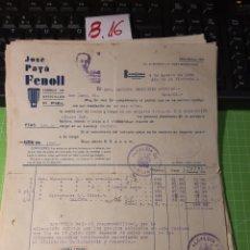 Facturas antiguas: JOSÉ PAYA FENOLL .BENEJAMA .ALICANTE 1939 .. Lote 246056475