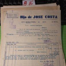 Facturas antiguas: HIJO DE JOSÉ COSTA. GATA JUSUS-POBRE 1940. Lote 246056990