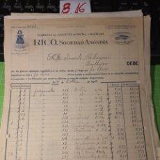 Facturas antiguas: RICO S.A FABRICA DE JUGUETES . IBI 1922. Lote 246057295