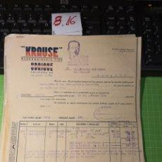 Facturas antiguas: KRAUSE UBRIQUE 1940. Lote 246058675