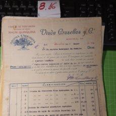 Facturas antiguas: VIUDA GROSELLAS Y CIA .BARCELONA 1918. Lote 246058860