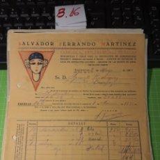 Facturas antiguas: SALVADOR FERRANDO MARTÍNEZ. VALENCIA 1933. Lote 246059005