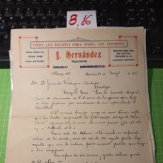 Facturas antiguas: FABRICA DE BALONES. J.HERNSNDEZ BARCELONA 1935. Lote 246159565