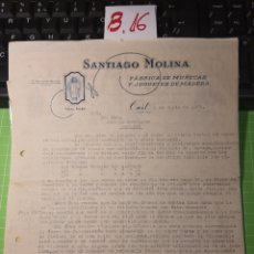 Facturas antiguas: SANTIAGO MOLINA. ONIL .MFABRICA DE MUÑECAS 1935. Lote 246160115